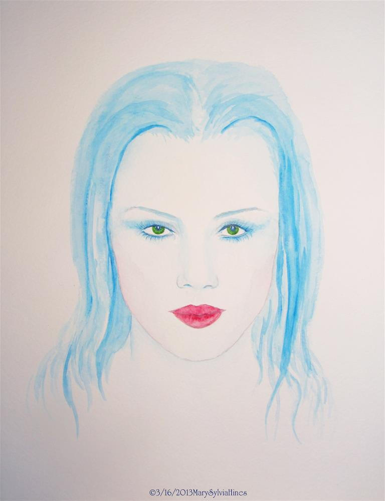 """Blue Girl"" original fine art by Mary Sylvia Hines"