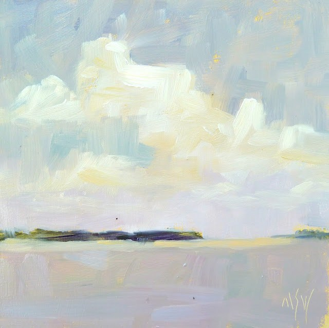 """Jekyll Island 6x6 oil on board. It was a warm, humid day which turned breezy and overcast. This vista was so simple and for once I didn't over think it."" original fine art by Mary Sheehan Winn"