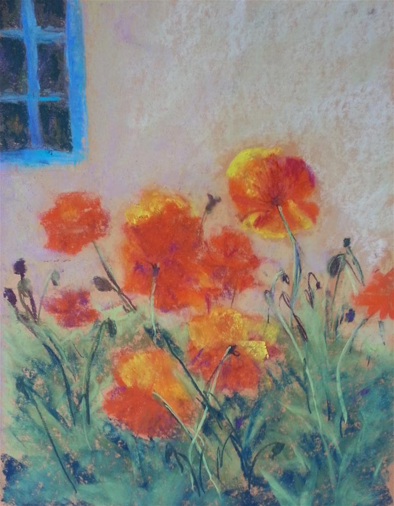 """Orange Poppies Blue Window"" original fine art by Anna Lisa Leal"