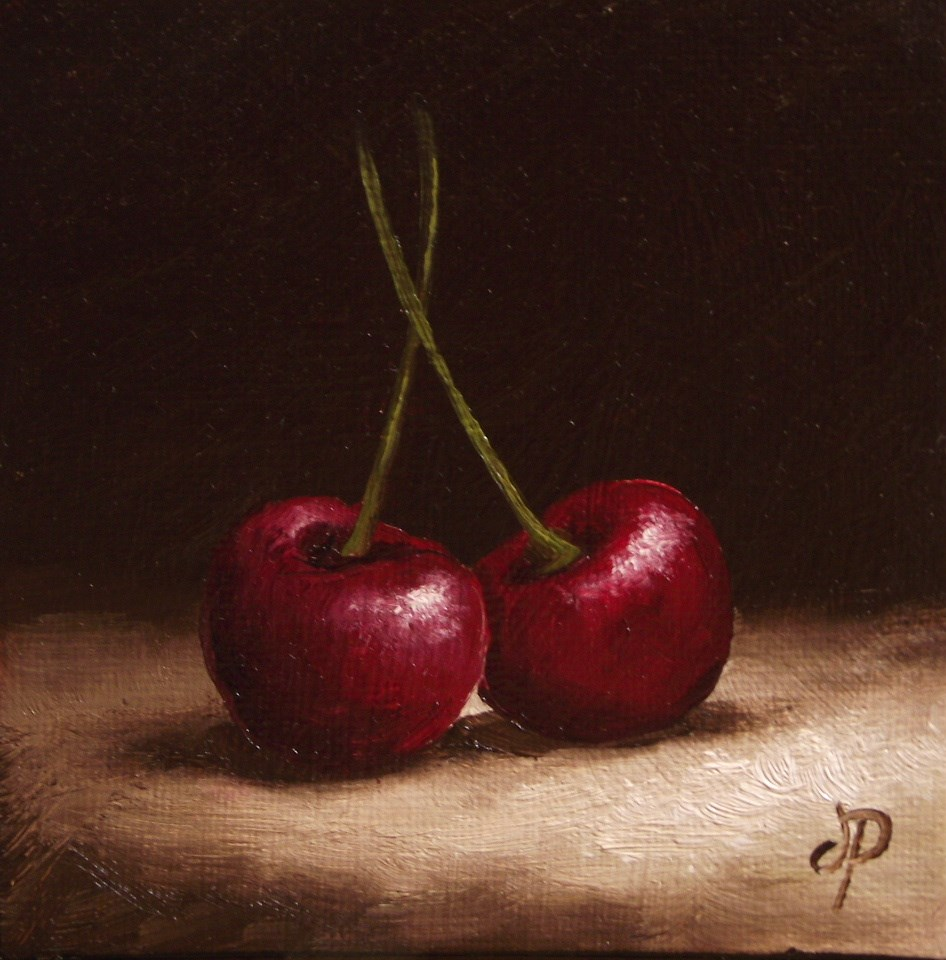 """Little Cherry Pair"" original fine art by Jane Palmer"