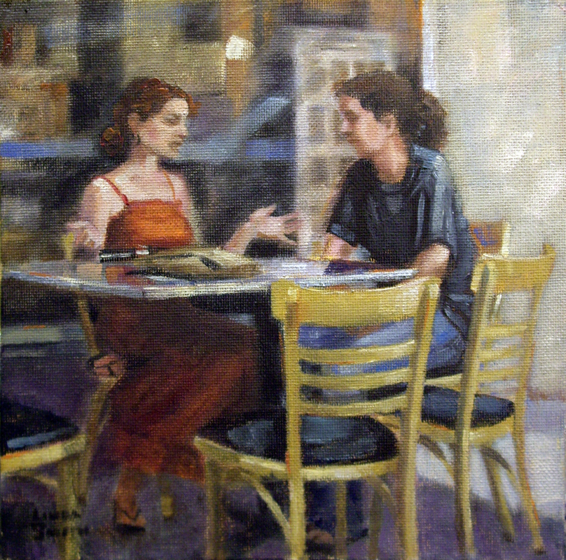 Outdoor Cafe Chat original fine art by Linda K Smith