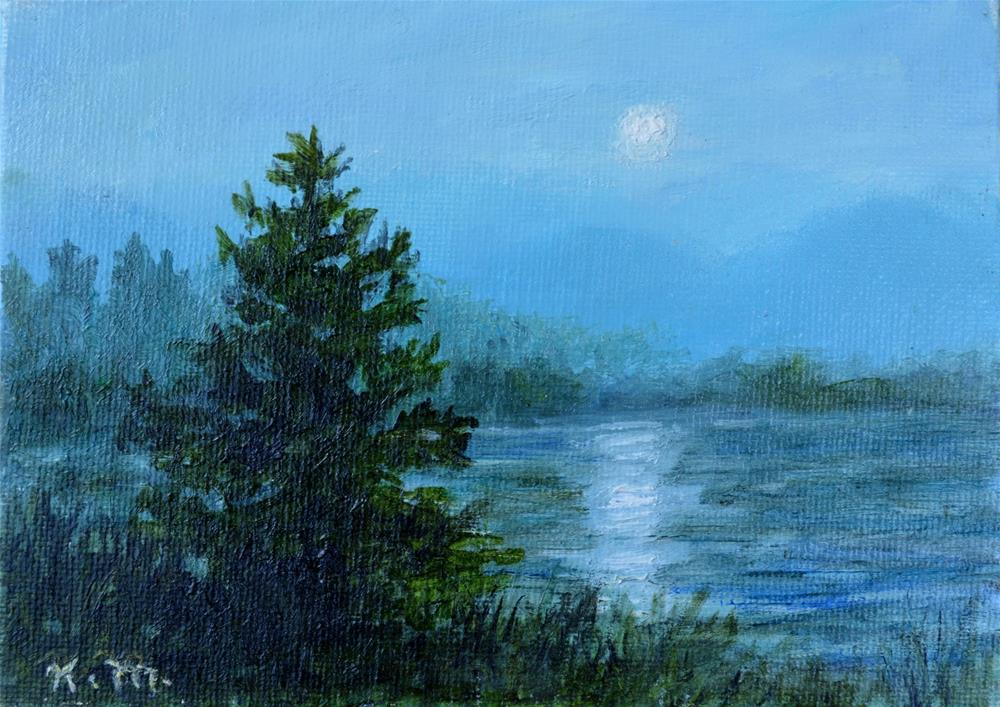 """Moonlight Study # 2 (C) 2016 by K. McDermott"" original fine art by Kathleen McDermott"