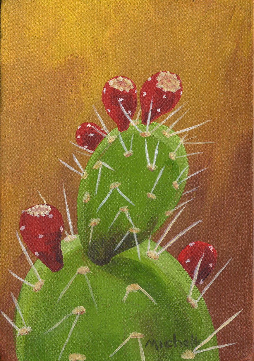 """""""Prikly Pear with Fruit 1"""" original fine art by Michelle Wolfe"""