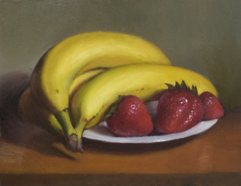 """Bananas with Berries"" original fine art by Debra Becks Cooper"
