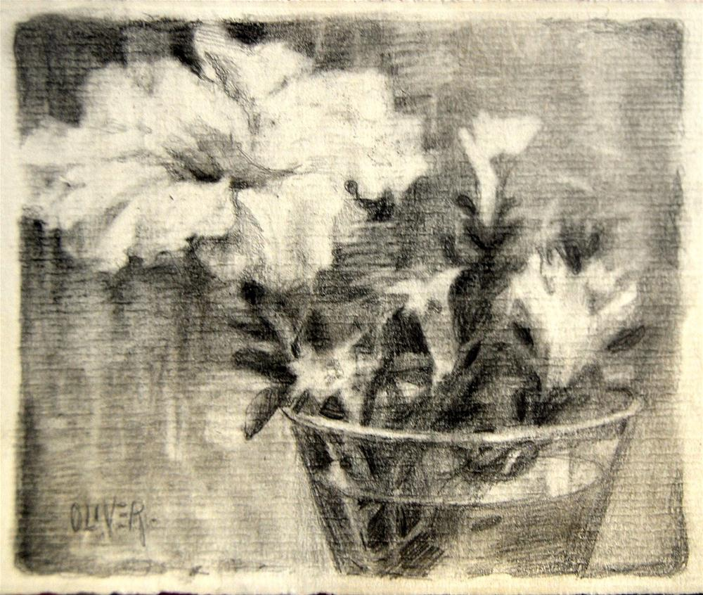 """Drawing the Petunia"" original fine art by Julie Ford Oliver"