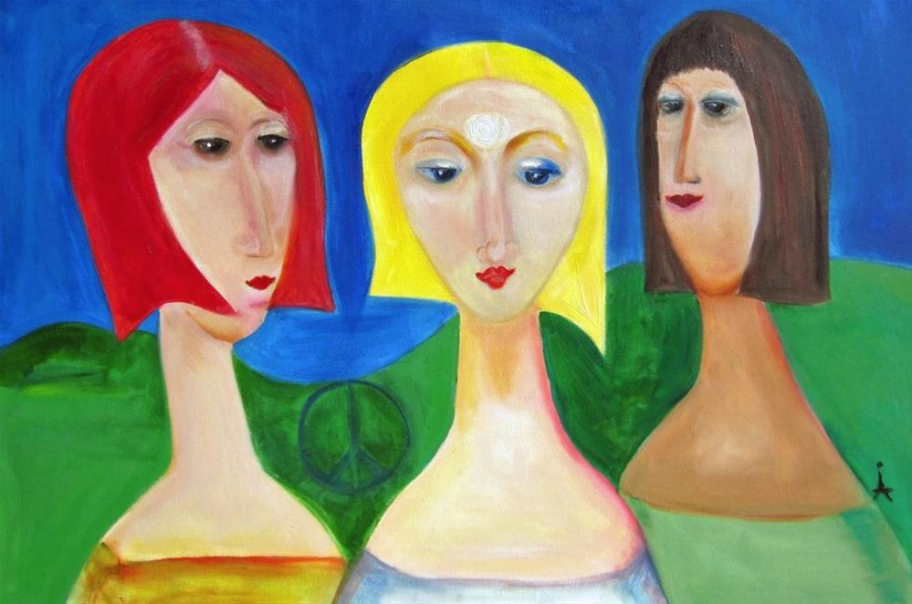 """Contemporary Figurative, Expressionist Painting Girlfriends by International Abstract Expression A"" original fine art by Arrachme Art"