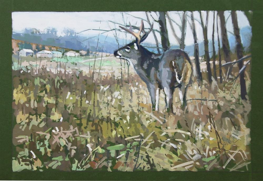 """Edge Cautious Buck"" original fine art by Larry Seiler"