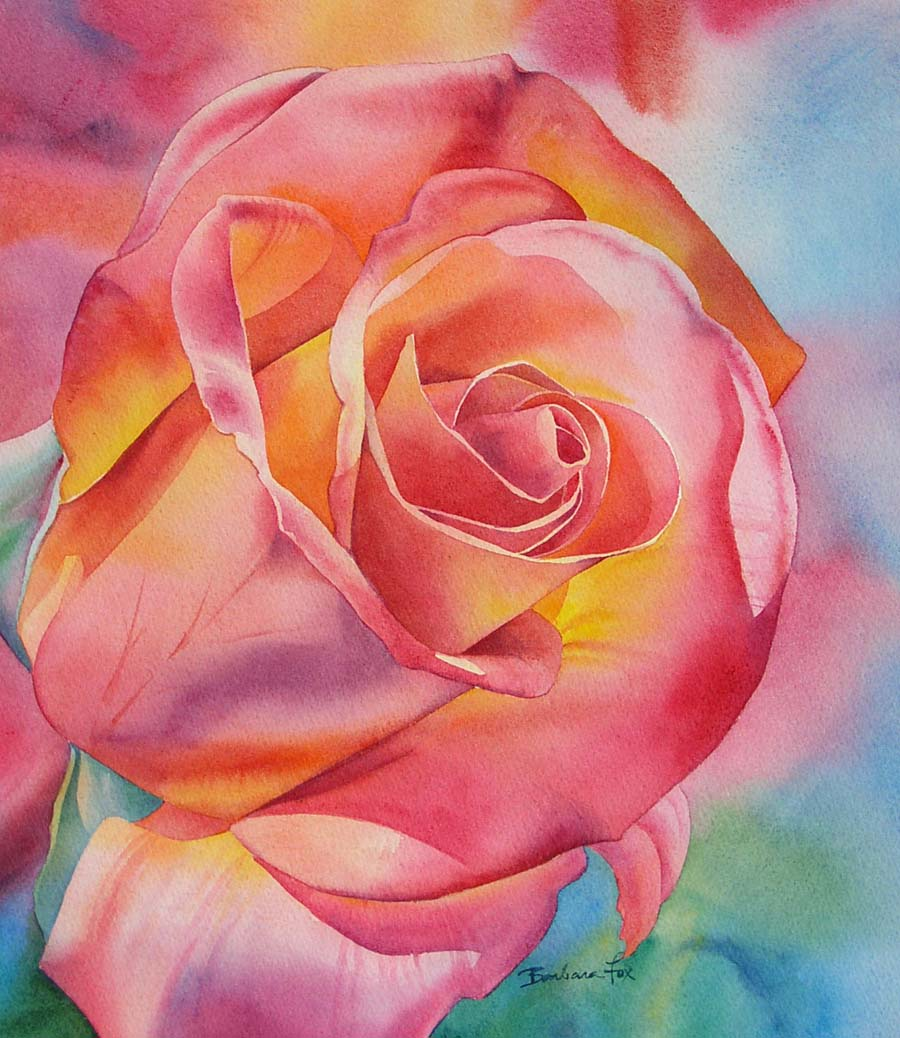 """SOUTHERN ROSE watercolor floral painting"" original fine art by Barbara Fox"