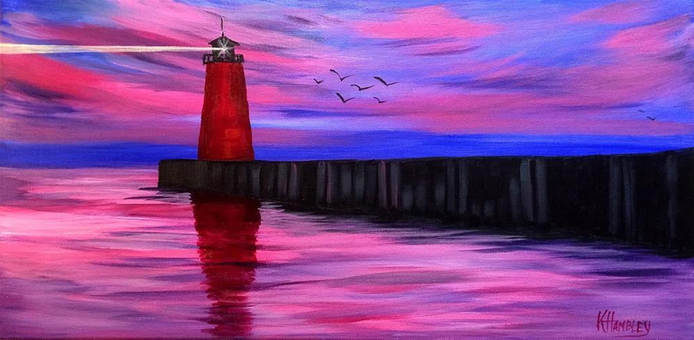 """Kenosha Red Lighthouse"" original fine art by Katherine Hambley"