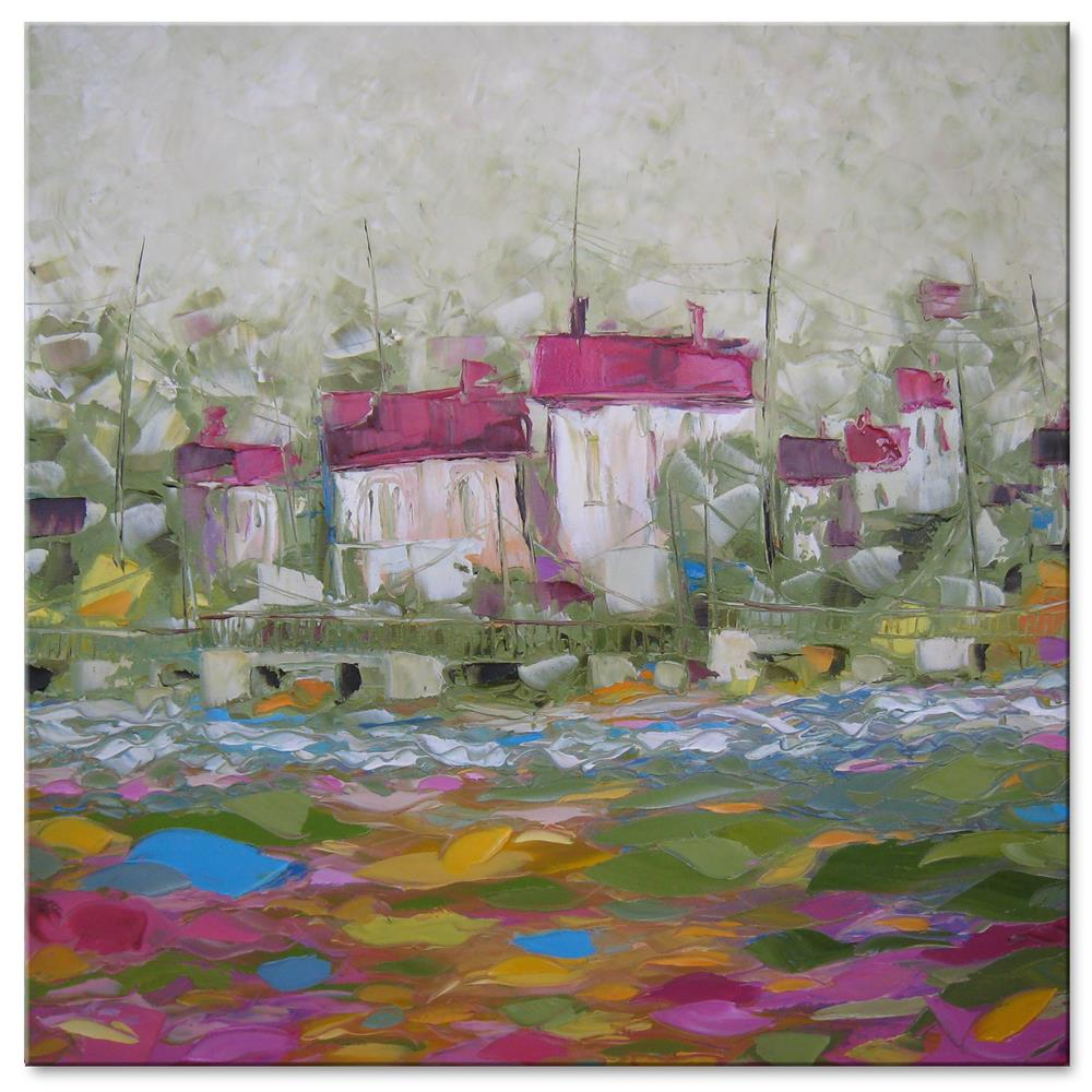 """Pink bay"" original fine art by Elena Lunetskaya"