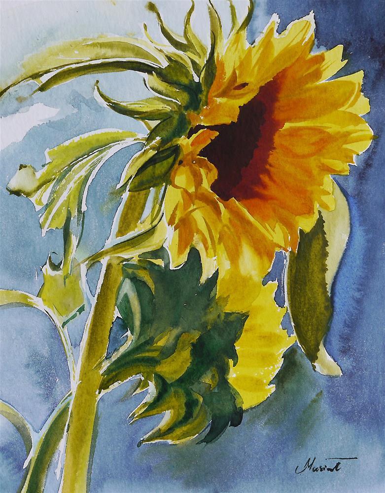 """sunflower- water"" original fine art by Beata Musial-Tomaszewska"