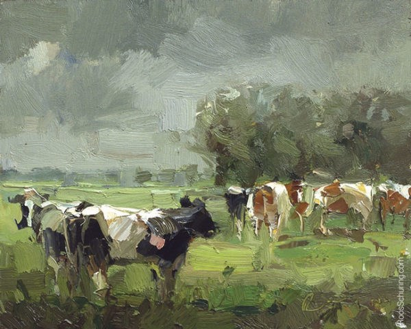 """Rain Approching, Cows and Trees"" original fine art by Roos Schuring"