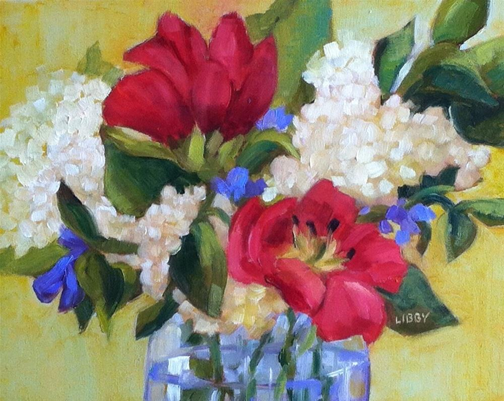 """Two Red Tulips"" original fine art by Libby Anderson"