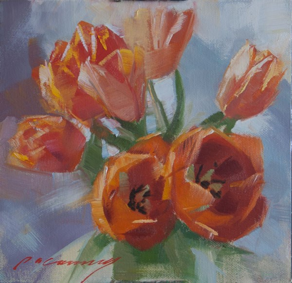 """Orange Bloomers"" original fine art by Patricia Canney"
