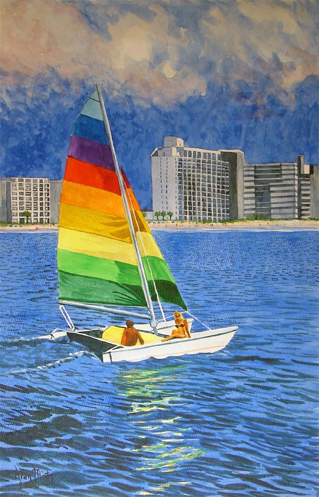 """Sailboat"" original fine art by Alan Mintz"