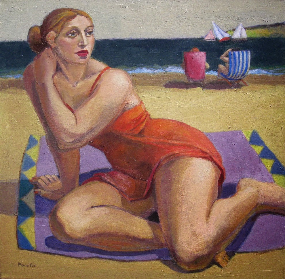 """There's My Chance, figurative female at beach, ocean, female figuration, sailboats, contemporary fig"" original fine art by Marie Fox"