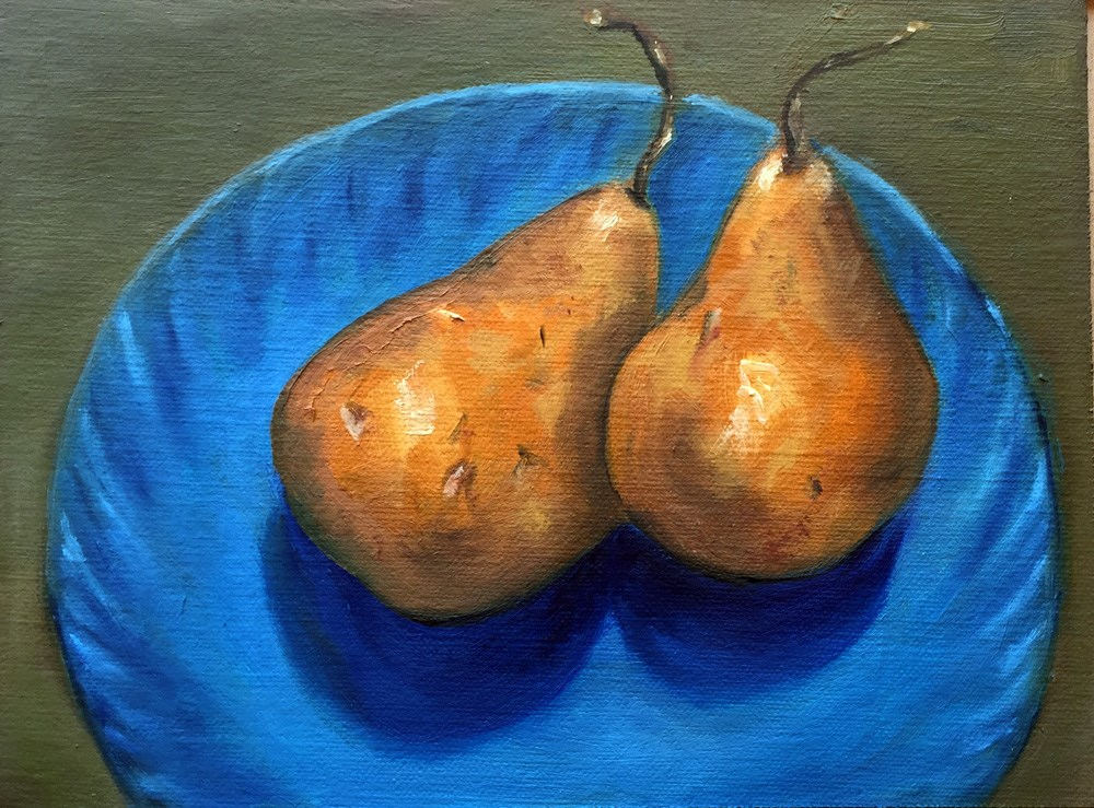 """Pair of Pears"" original fine art by Dicksie McDaniel"