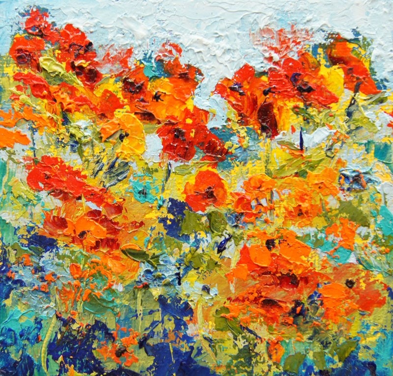 """Poppy Impressions, Miniature treasure palette knife painting, 4x4"" original fine art by Marion Hedger"