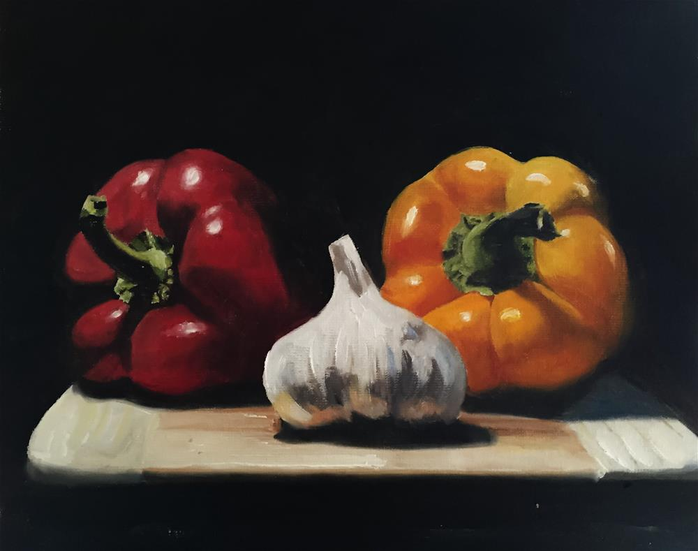 """Peppers and Garlic"" original fine art by James Coates"