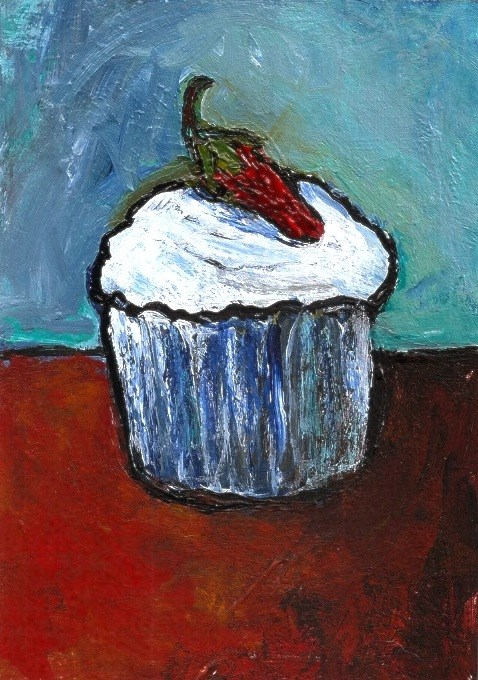 """ACEO Chili Pepper Frosted Cupcake Expressionistic Acrylic Penny Lee StewArt"" original fine art by Penny Lee StewArt"