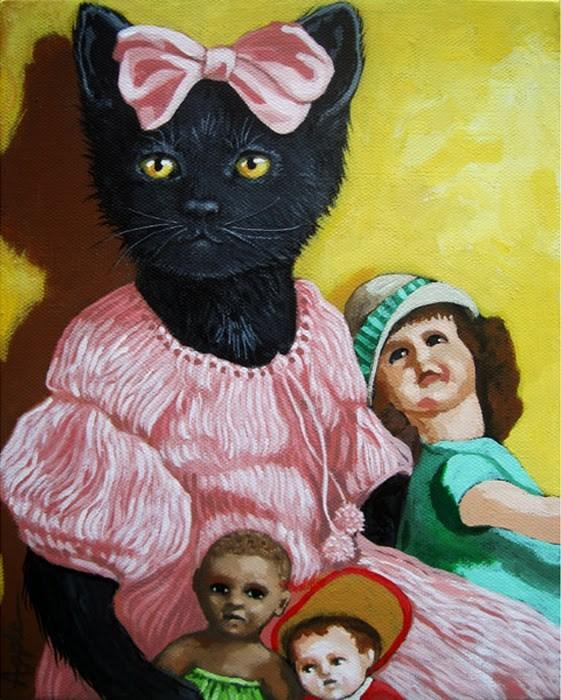 """Missy - the dollmaker - black cat portrait animal art"" original fine art by Linda Apple"