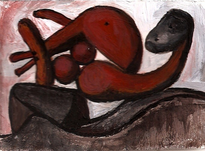 """ACEO Woman Throwing A Stone in the style of Picasso Abstract Art Penny StewArt"" original fine art by Penny Lee StewArt"