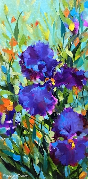 """Signs of Spring Purple Iris and a Sonoma, California Workshop - Flower Paintings by Nancy Medina Art"" original fine art by Nancy Medina"