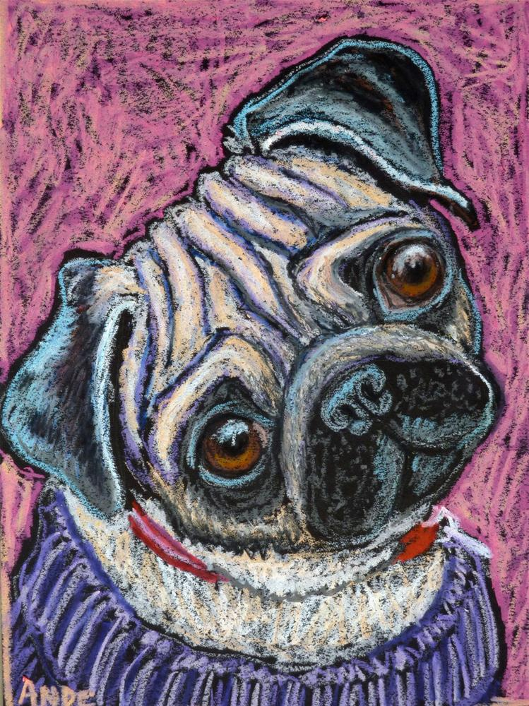 """Pug on Pink"" original fine art by Ande Hall"