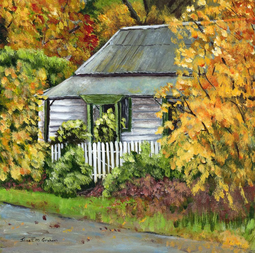"""Autumn Cottage"" original fine art by Janet Graham"