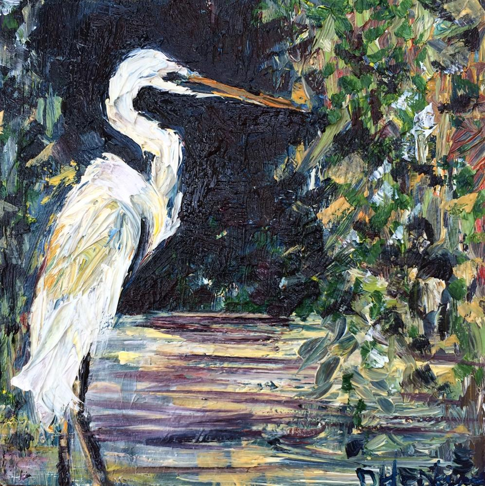 """Purple egret"" original fine art by Denise Hopkins"