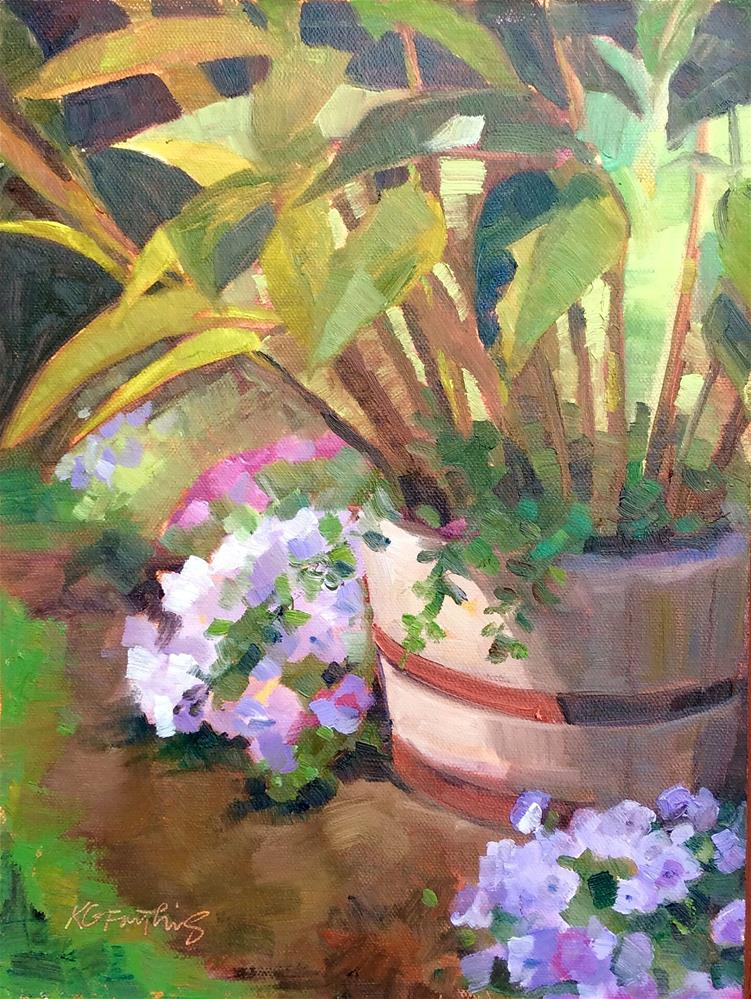 """Purple Petunias"" original fine art by Kathleen Gray Farthing"