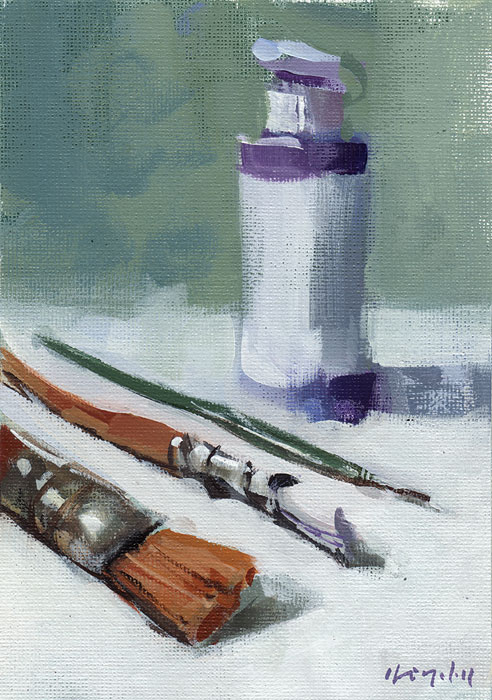 """Challenge - Paint What You Paint With - My Brushes"" original fine art by David Lloyd"