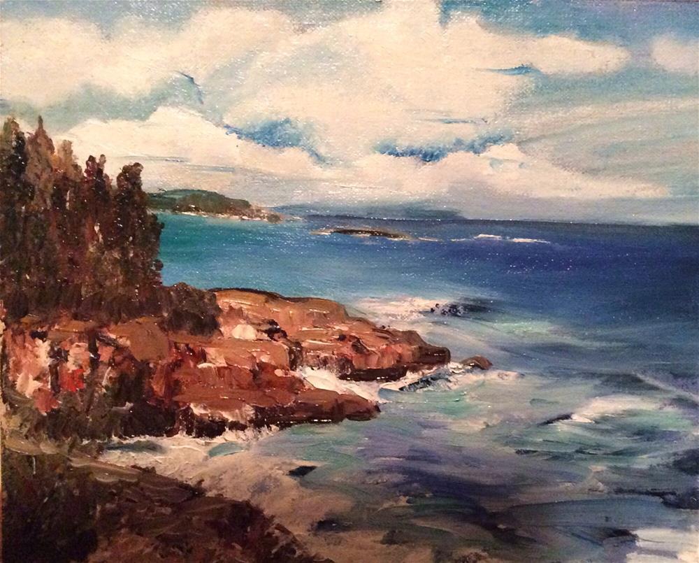 """New England Coastline II"" original fine art by Charlotte Lough"