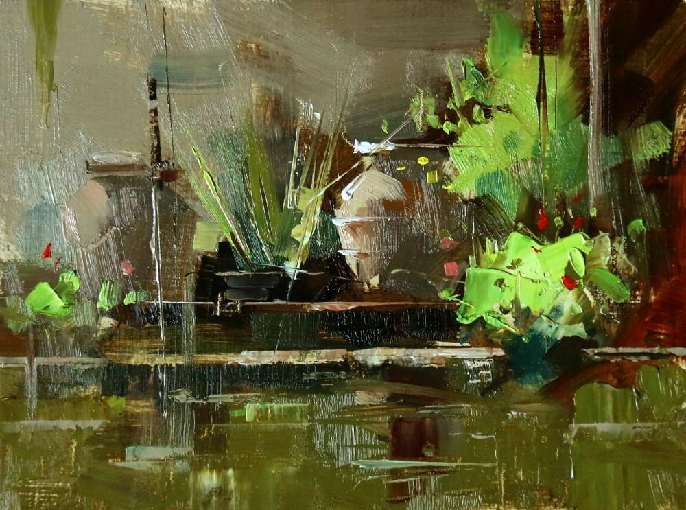 """""""Cedar Park Water Garden"""" original fine art by Qiang Huang"""