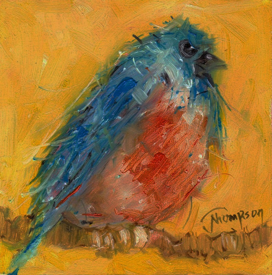 """Blue and Orange Bird"" original fine art by Norma Thompson"