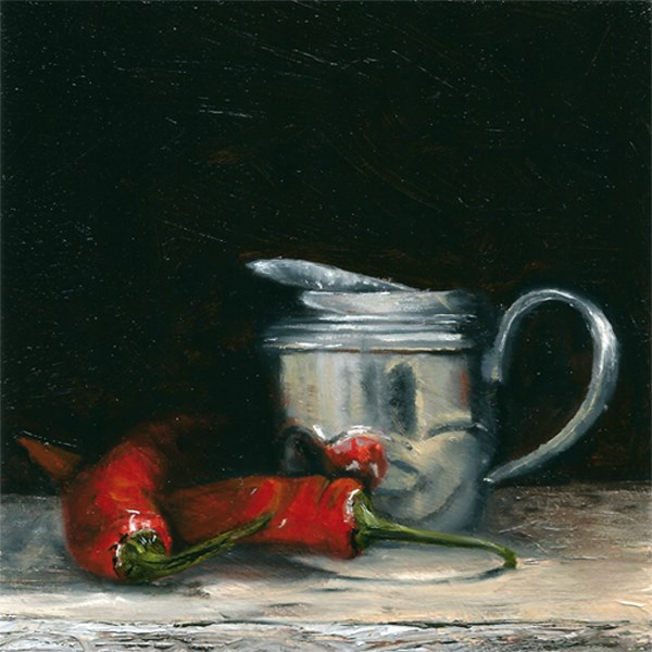 """Pewter jug with chillies"" original fine art by Peter J Sandford"