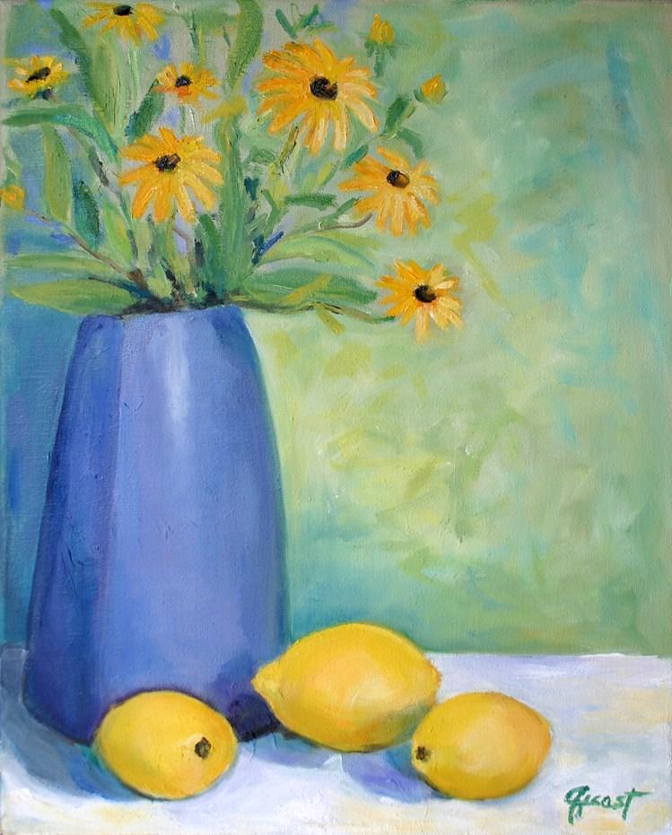 """""""3 Lemons"""" original fine art by barbara quast"""