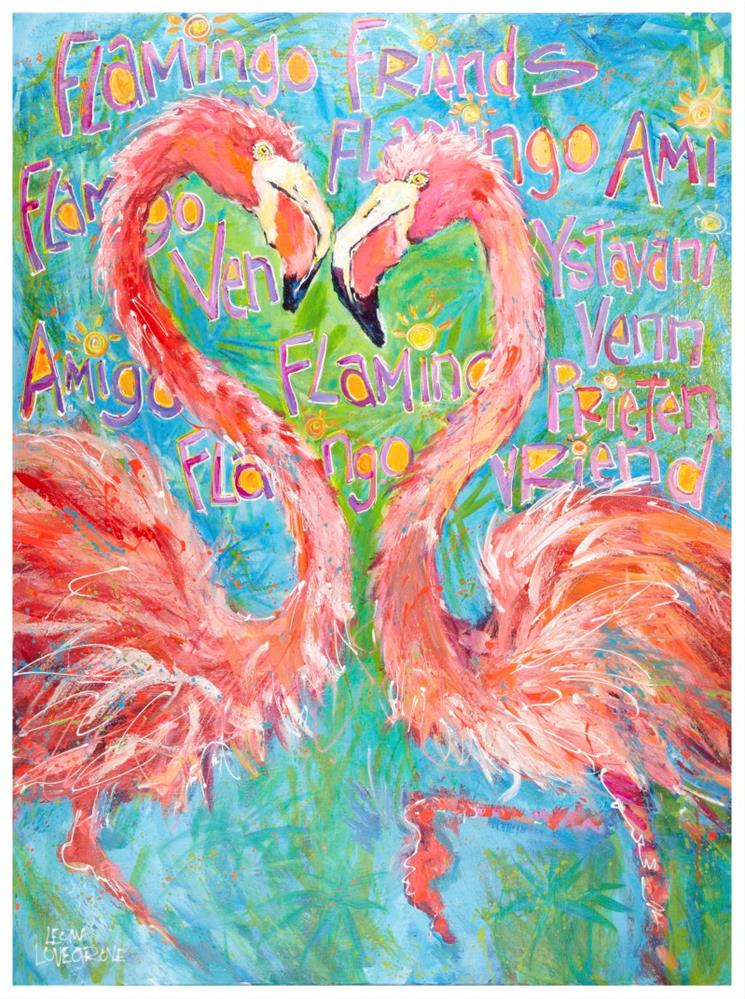 """Flamingo Friends"" original fine art by Leoma Lovegrove"