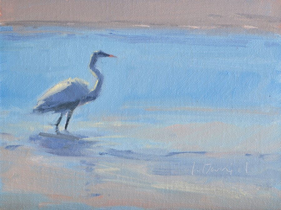 """Egret Reflections Study 2"" original fine art by Laurel Daniel"