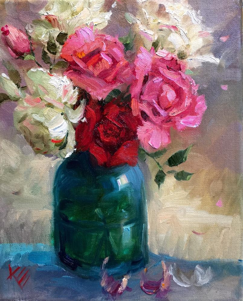 """Summer Roses in Turquoise"" original fine art by Krista Eaton"