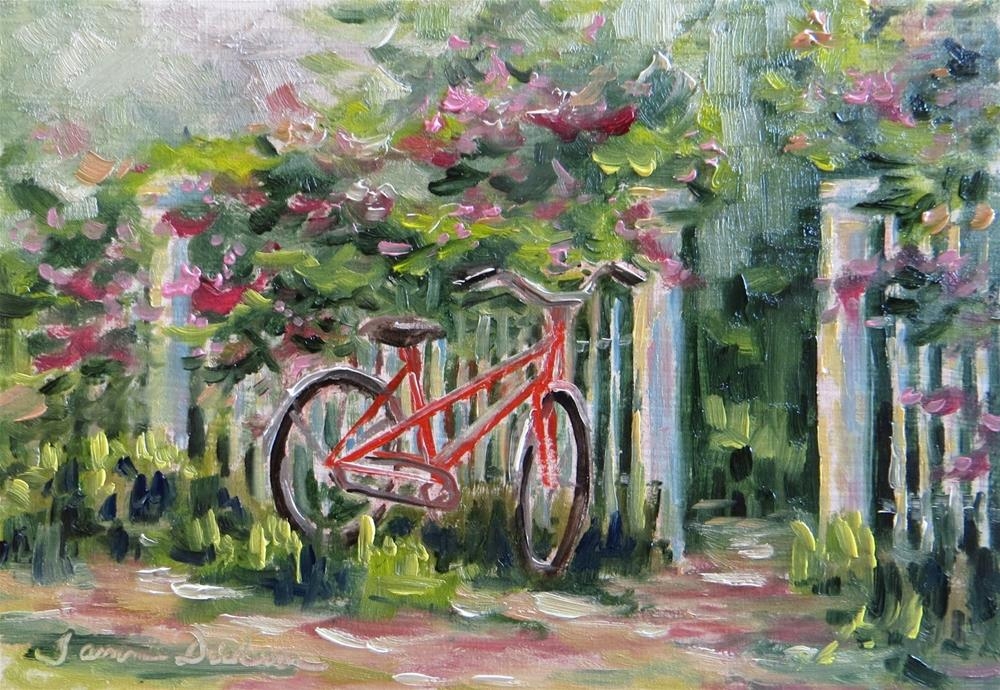 """Bike Along the Fence"" original fine art by Tammie Dickerson"