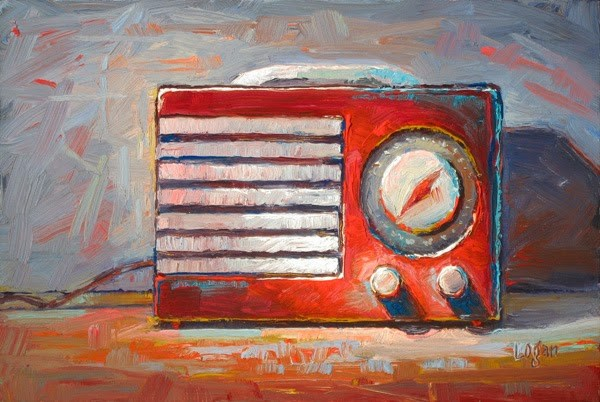 """Little Red Radio (Emerson)"" original fine art by Raymond Logan"