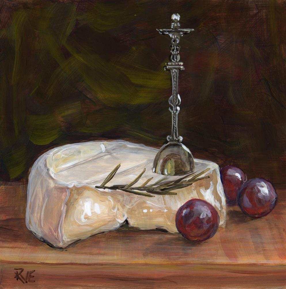 """#88  Goat cheese"" original fine art by Ruth Van Egmond"
