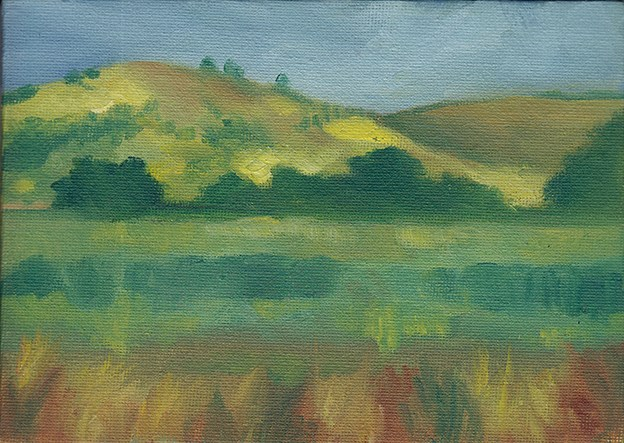 """Sunlit Hills"" original fine art by J M Needham"