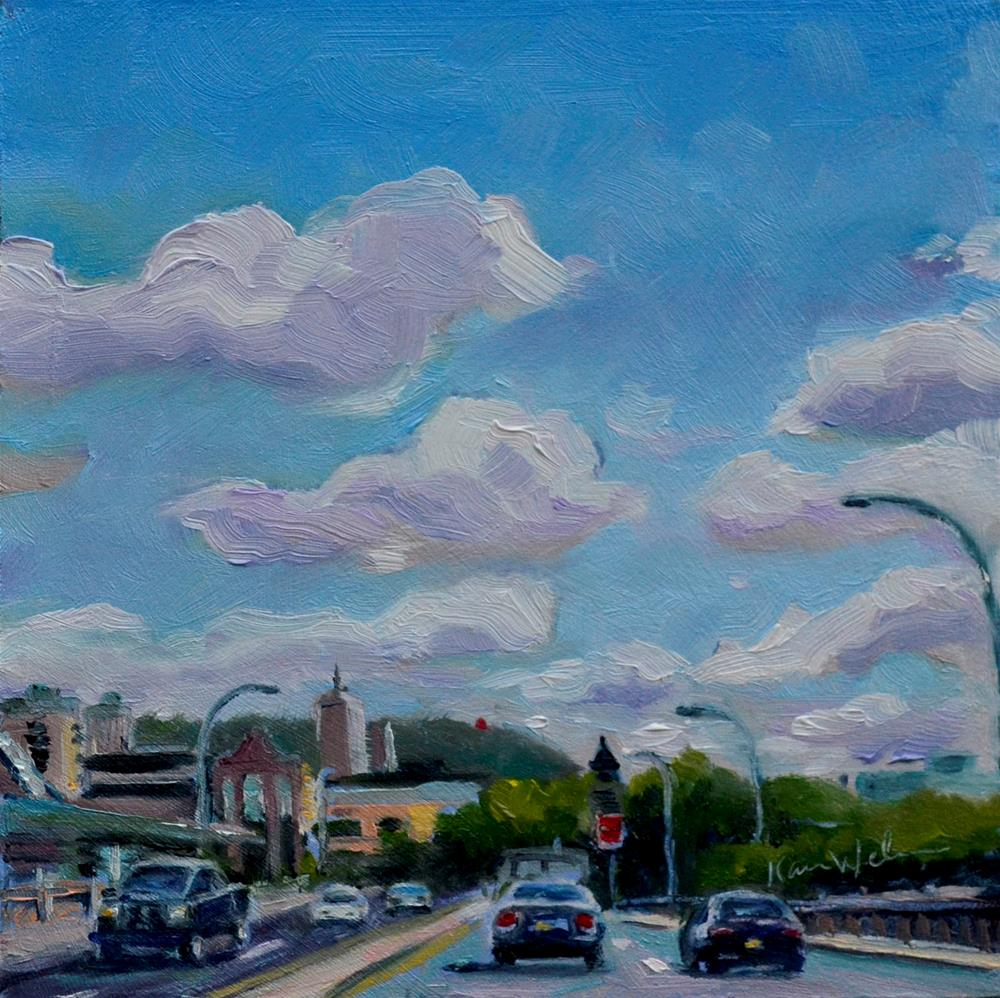 """Crossing Penn Street Bridge"" original fine art by Karen Weber"