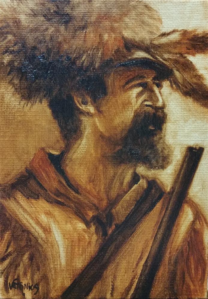 """Hunter's Hat-value study"" original fine art by Veronica Brown"