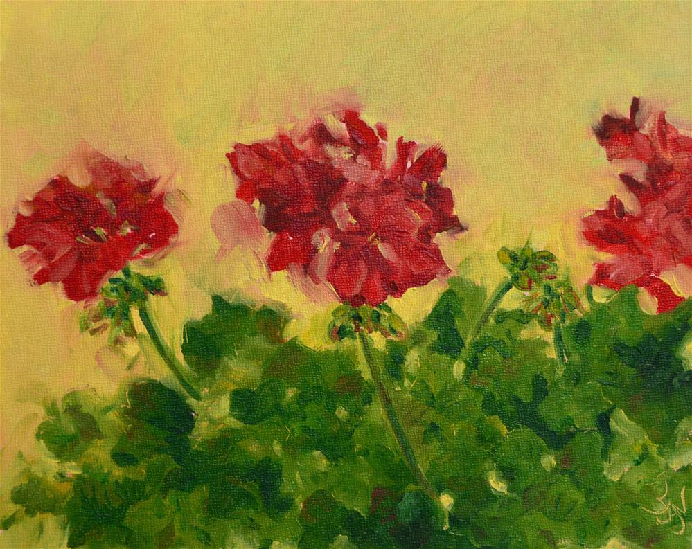"""Red Trio"" original fine art by Jan Jackson"