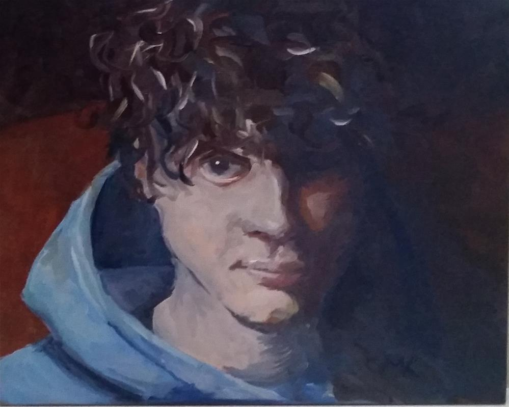 """Blue Hoodie"" original fine art by Catherine Kauffman"
