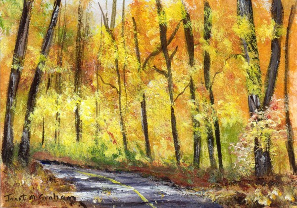 """Fall Road ACEO"" original fine art by Janet Graham"