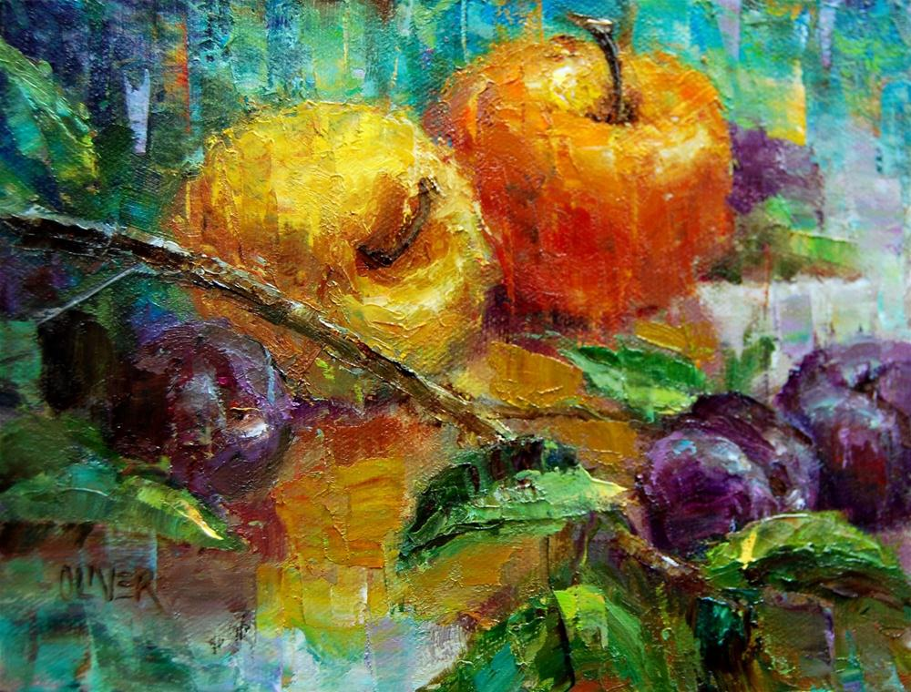 """Apples and Plums"" original fine art by Julie Ford Oliver"